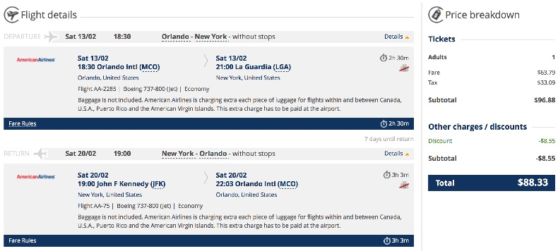 Orlando to New York