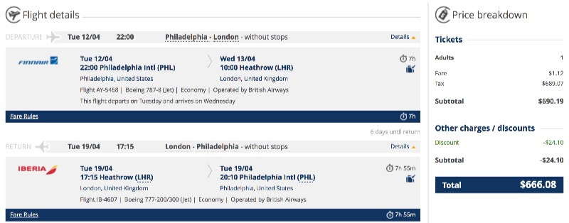 Philadelphia to London