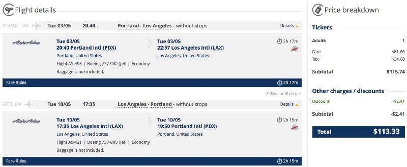 Portland to Los Angeles