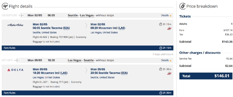 Seattle to Las Vegas