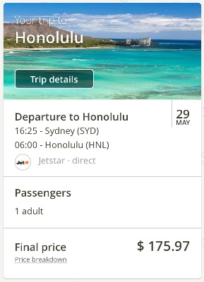 Sydney to Honolulu, Hawaii