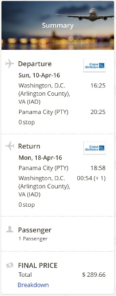 Washington to Panama