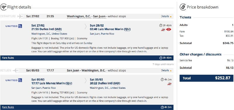 Washington to San Juan