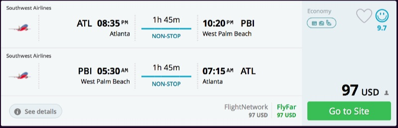 Atlanta to West Palm Beach, Florida