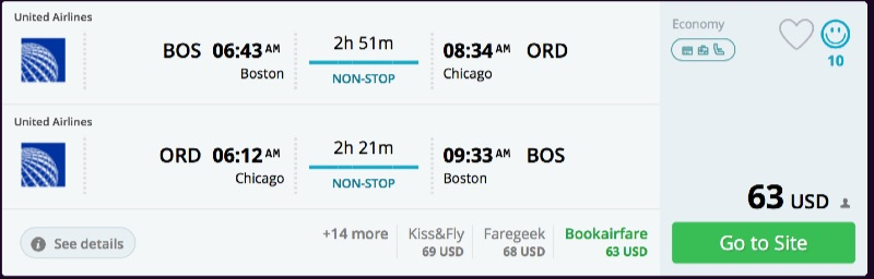 Boston to Chicago