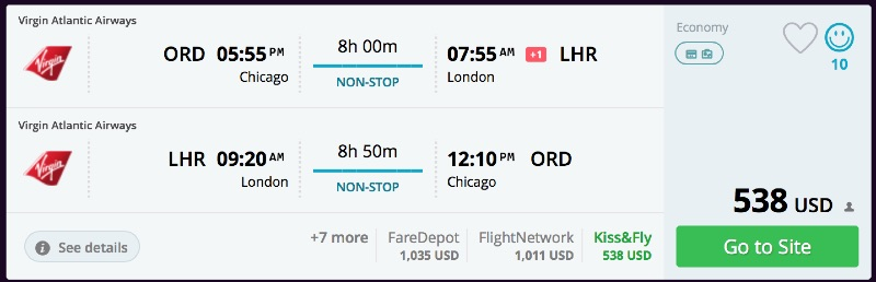 Chicago to London