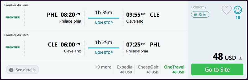 Philadelphia to Cleveland