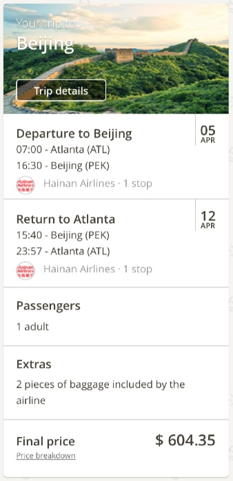 Atlanta to Beijing, China