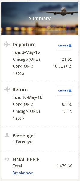 Chicago to Cork