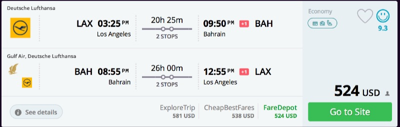 los angeles to bahrein