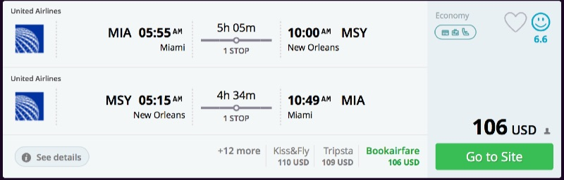 Miami to New Orleans