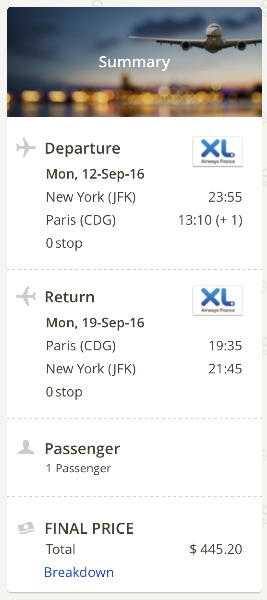 New York to Paris, France