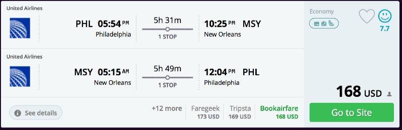 Philadelphia to New Orleans