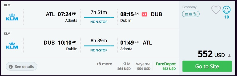 Atlanta to Dublin