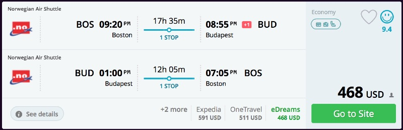 Boston to Budapest