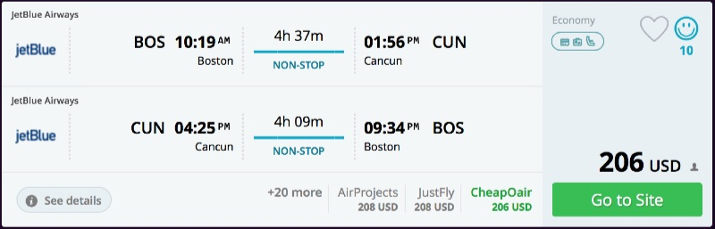 Boston to Cancun