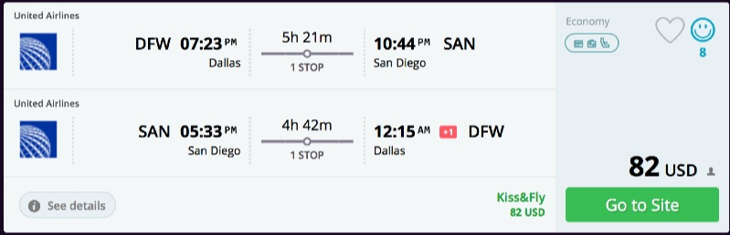 Dallas to San Diego