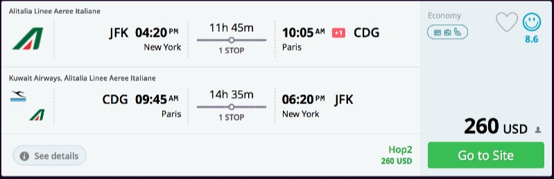 Error fare new york to paris france for 260 r t for New york to paris flights