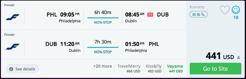 Philadelphia to Dublin