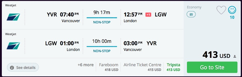 Vancouver to London