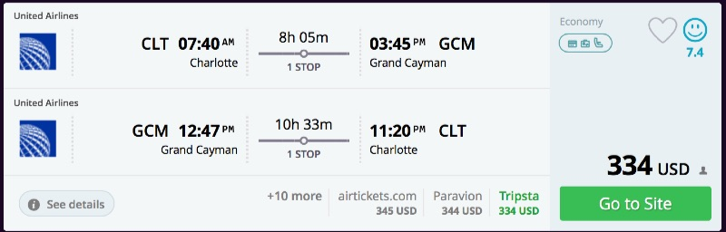 Charlotte to Grand Cayman
