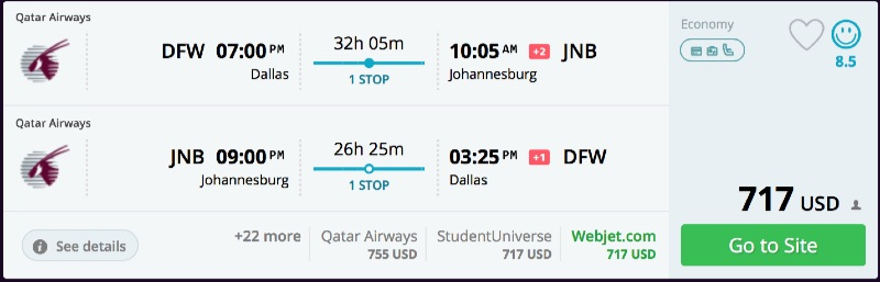 Dallas To Johannesburg South Africa For 717 R T Via
