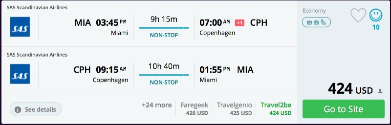 Miami to Copenhagen