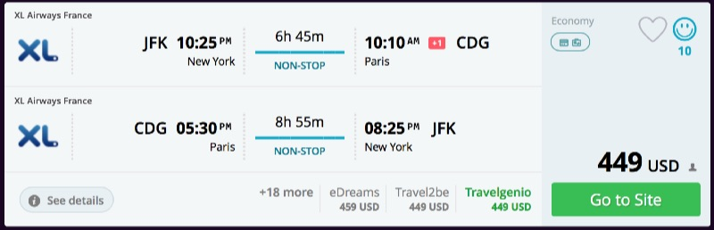 New york to paris france for 449 r t nonstop airfare spot for New york to paris flights