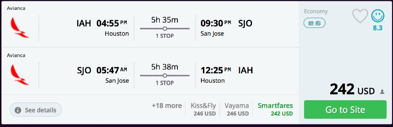 Houston to San Jose, Cost Rica