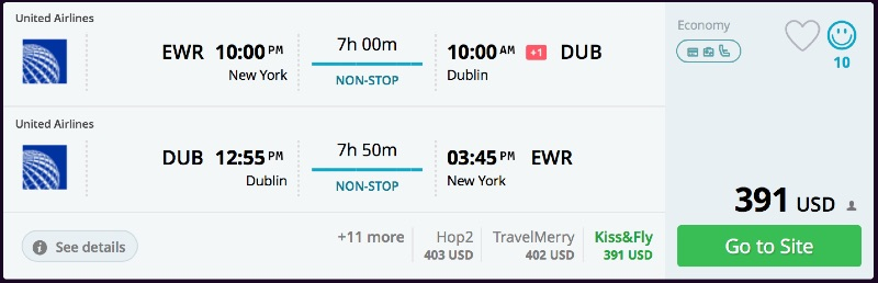 New York to Dublin
